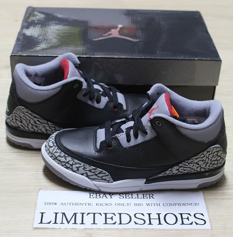 Details about NIKE AIR JORDAN 3 RETRO PS BLACK CEMENT GREY 429487-010 fire  red xi concord og 23a4e4dd9