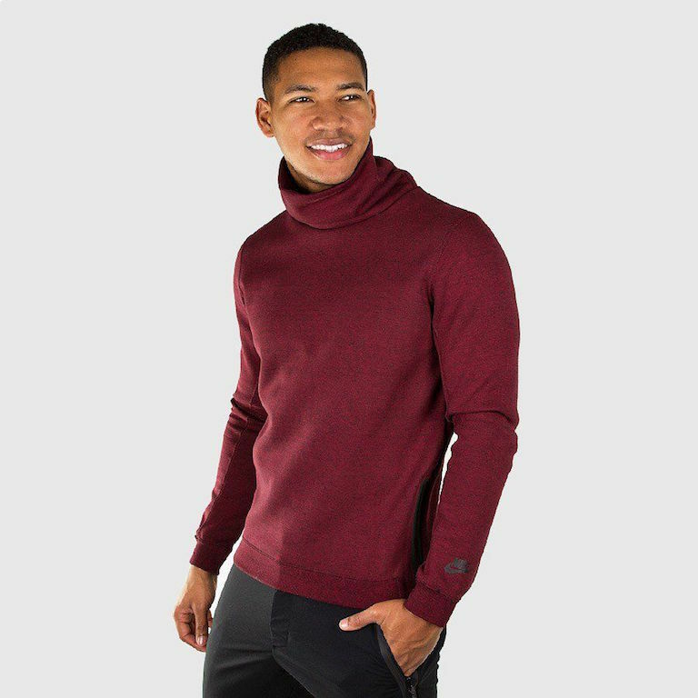 sports shoes be770 7796f Details about NIKE TECH FLEECE MENS FUNNEL LIGHT SWEATSHIRT 679908-677  Maroon   Black Men s XL