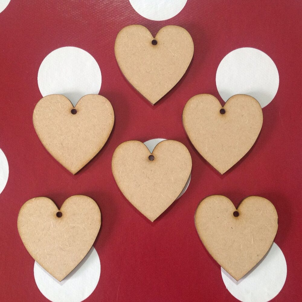 20 x small wooden hearts 5cm blank craft shapes with one