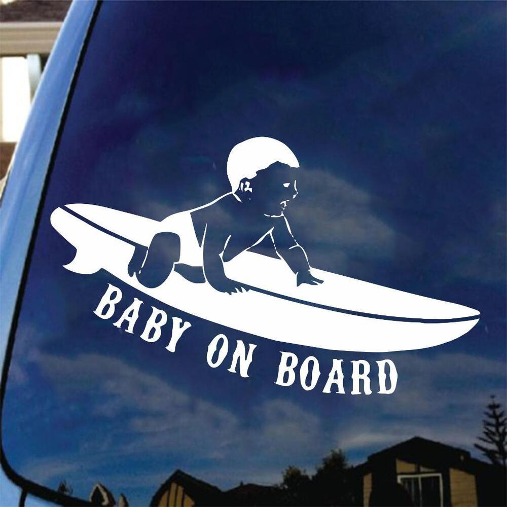 Baby On Board Surf Vinyl Decal Car Sticker Pregnant Mom
