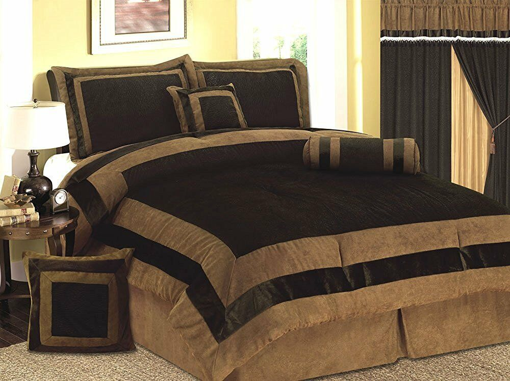 Luxury 7 PC 7 PCS Mocha Brown Micro Suede Bed In A Bag