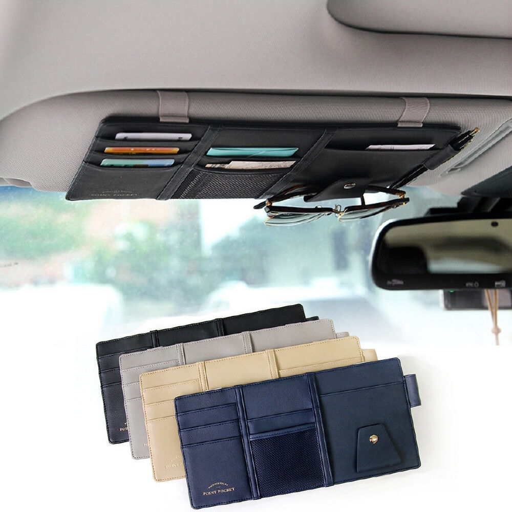 black color car sun visor multi pocket card sunglasses holder bag organizer ebay. Black Bedroom Furniture Sets. Home Design Ideas