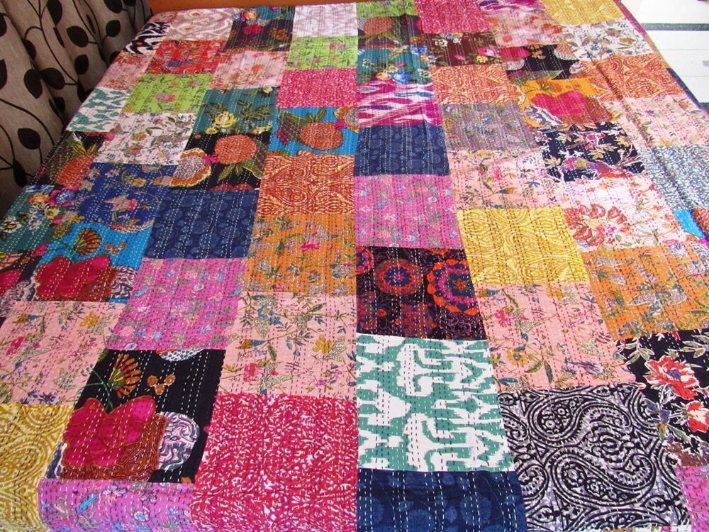 king size handmade quilts kantha quilt patchwork cotton indian bedspread handmade 8223
