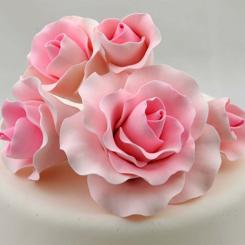 sugar flower wedding cake toppers 5 pink roses sugar flower wedding birthday cake decoration 20579