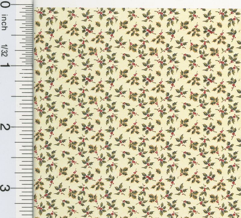 "Dollhouse Miniature 1:24 Scale ""Christmas Holly"" Wallpaper"