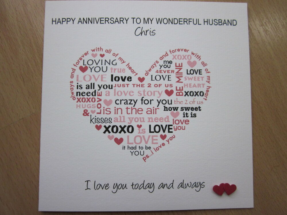 Personalised Handmade Anniversary Wedding Day Card