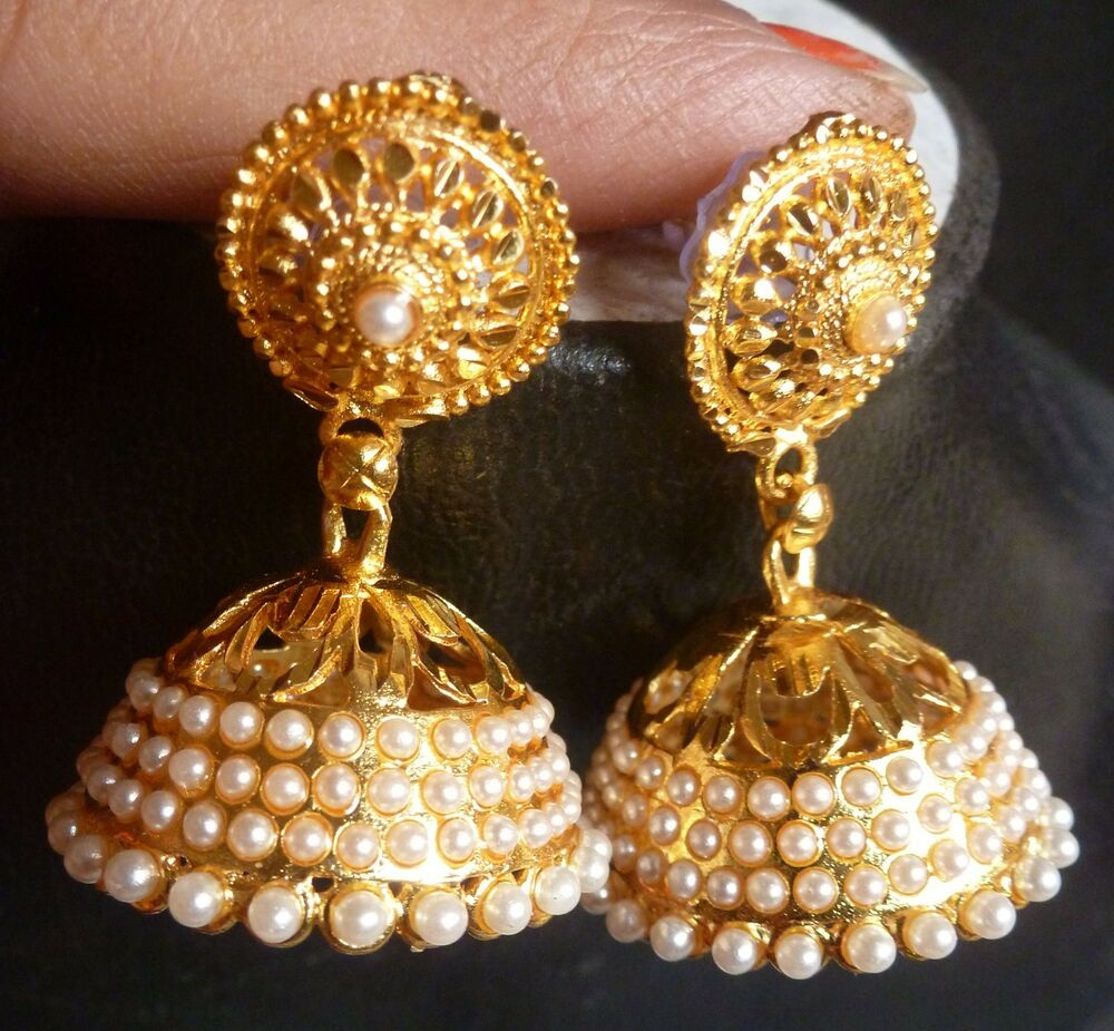 Indian 22k Gold Plated Wedding Necklace Earrings Jewelry: 22K Gold Plated Pearl Setting Indian Wedding Jhumka
