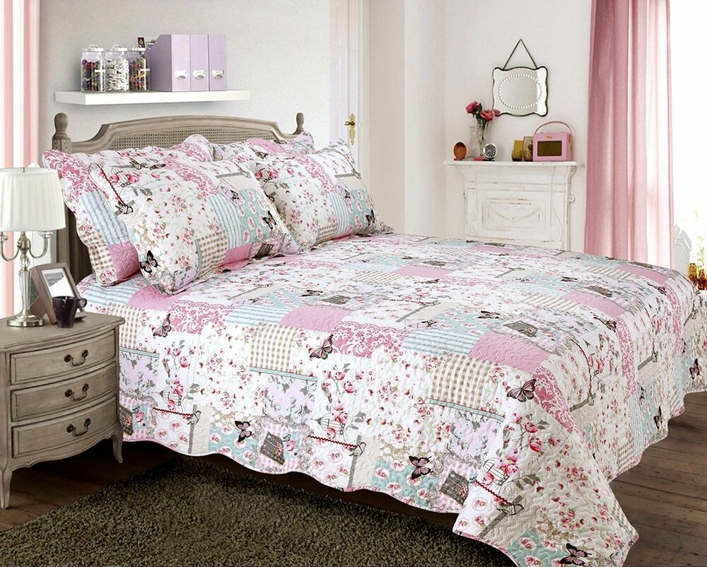 Vintage Country Cottage Quilted Bedspread Comforter Set