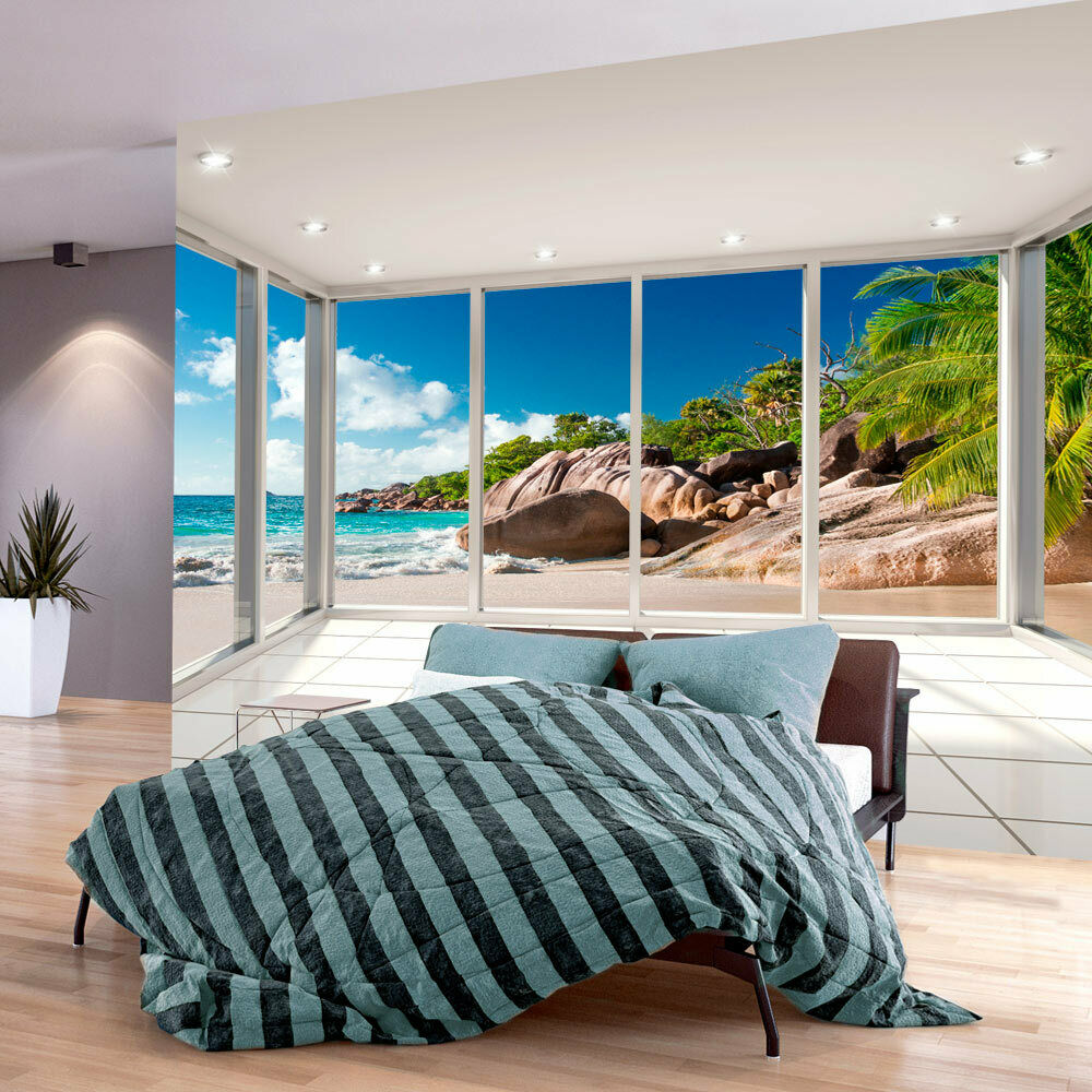 vlies fototapete tapeten xxl wandbilder tapete fenster strand meer c c 0068 a a ebay. Black Bedroom Furniture Sets. Home Design Ideas