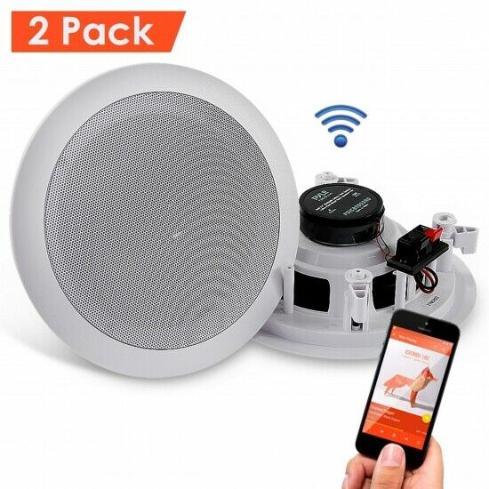 Dual 6.5'' Bluetooth Ceiling, Wall Speakers, 2-Way Flush Mount Home Speaker Pair 691205828461