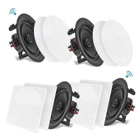 4 Speakers 10'' Bluetooth Ceiling / Wall Speaker Kit, Flush Mount 2-Way Home