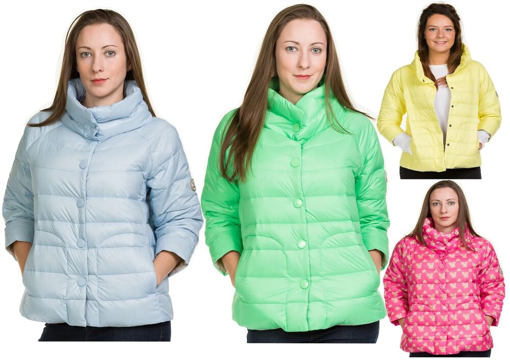 536383a41b Ladies Quilted Padded Down Jackets 3/4 Sleeve Casual Outdoor Warm Button  Coat | eBay