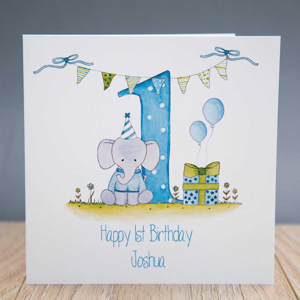 Handmade Personalised Boys 1st Birthday Card First