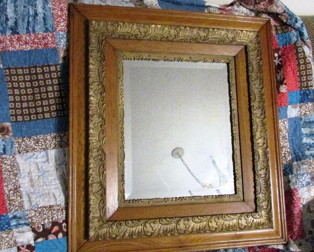 Large antique victorian solid oak ornate gesso beveled for Large portrait mirror