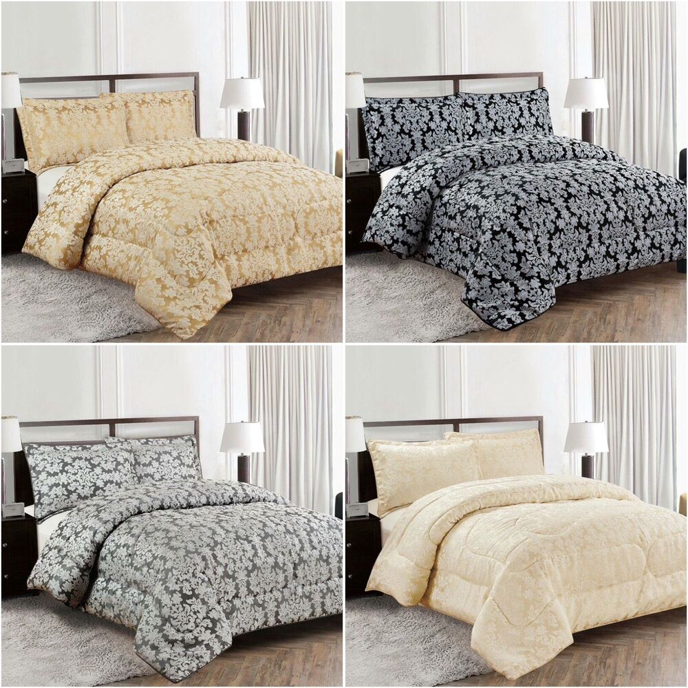 luxurious 3pcs piece quilted jacquard bedspread single