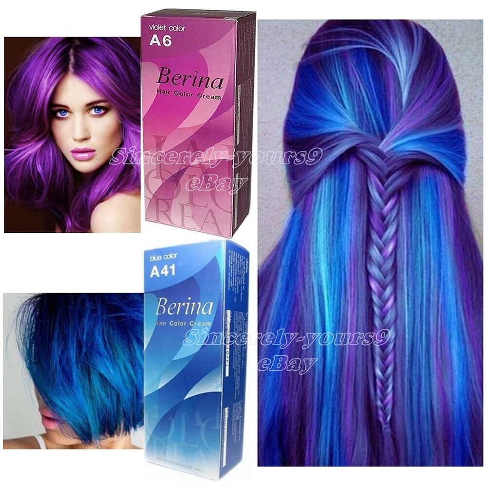 Berina A6 A41 Hair Color Violet Bule Permanent Hair Dry Cream Fashion Style 2pcs Ebay