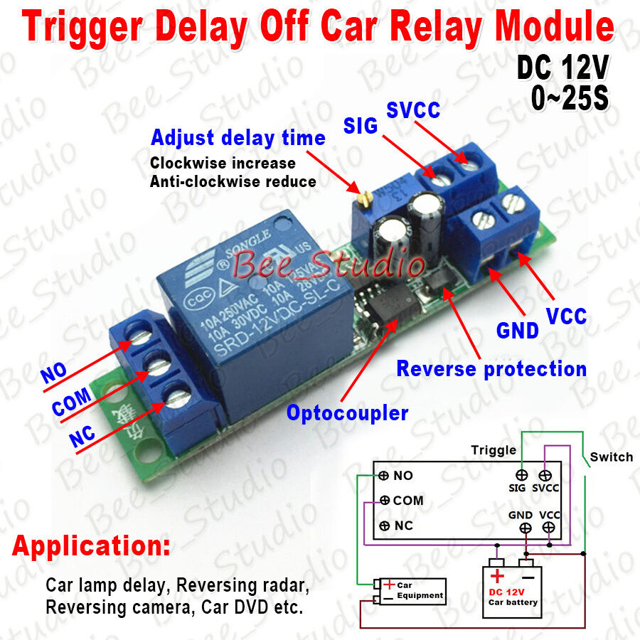 Dc 12v Adjustable Signal Trigger Delay Turn Off Delay