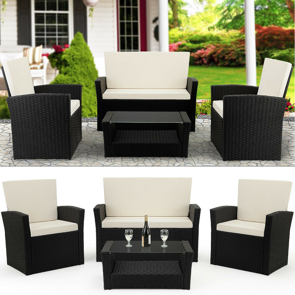 deuba poly rattan lounge sitzgruppe sitzgarnitur gartenm bel garten balkon set ebay. Black Bedroom Furniture Sets. Home Design Ideas