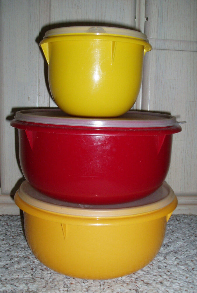Vtg Tupperware Mixing Bowls Harvest Colors Sold