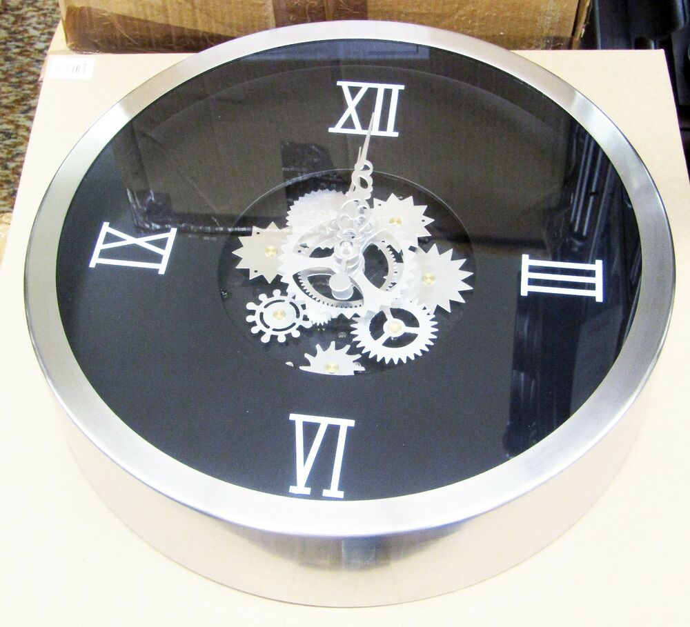 Metal Moving Gears Wall Clock 14 Quot Diameter W Moving Gears