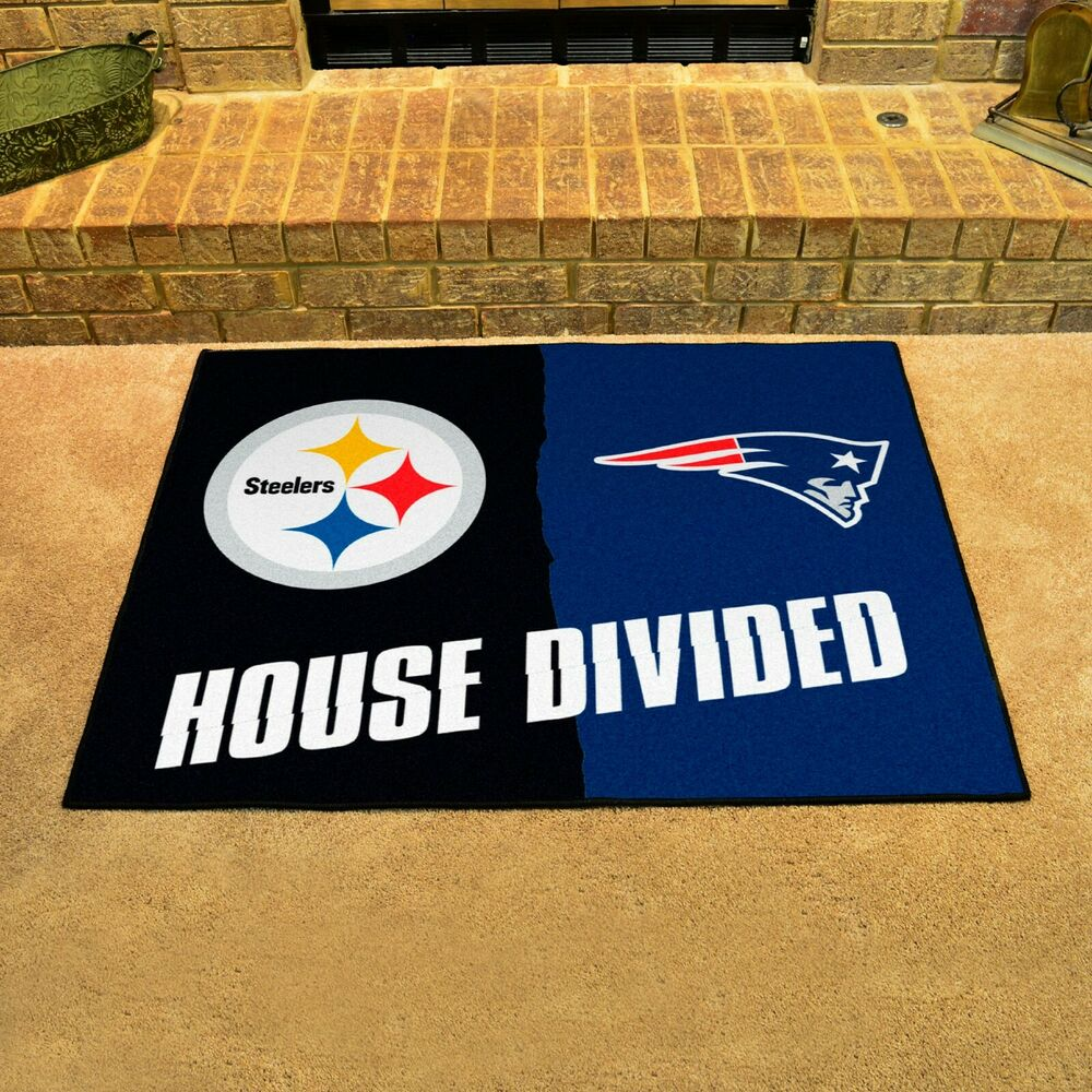 Pittsburgh Steelers New England Patriots House Divided All Star Area Rug Mat 842989092450