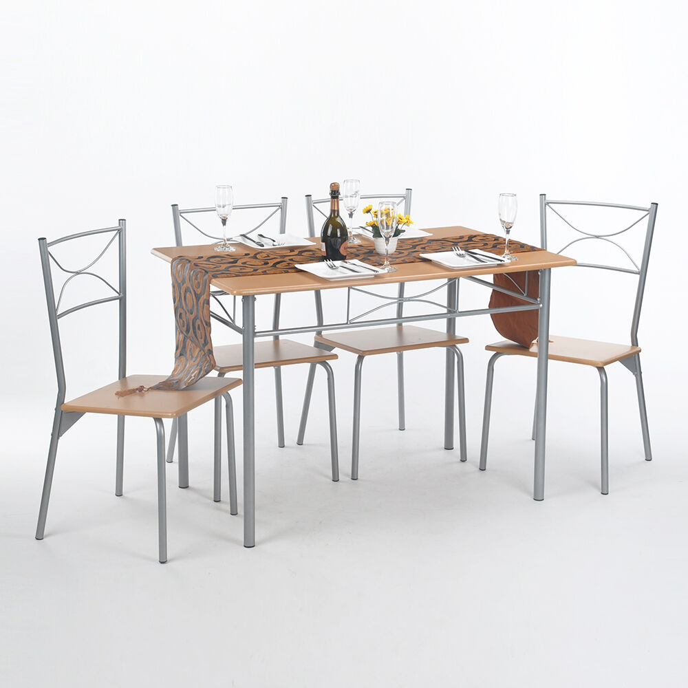 Bench Chairs Kitchen Tables And Chairs Ebay Free Kitchen: 5 Pieces Dinning Kitchen Wood Metal Table Chair Set Dining