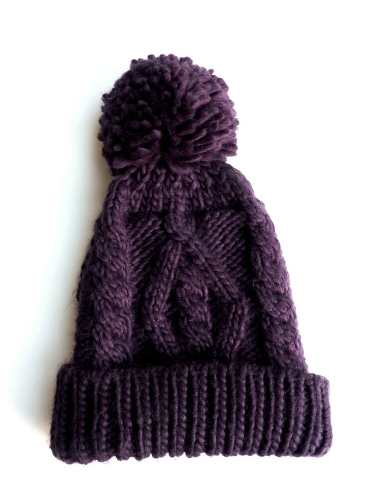 f6f31ca9 Details about ZARA Girl Boy Unisex CABLE Knitted PURPLE GREEN Winter Beanie  Pom Hat One Size