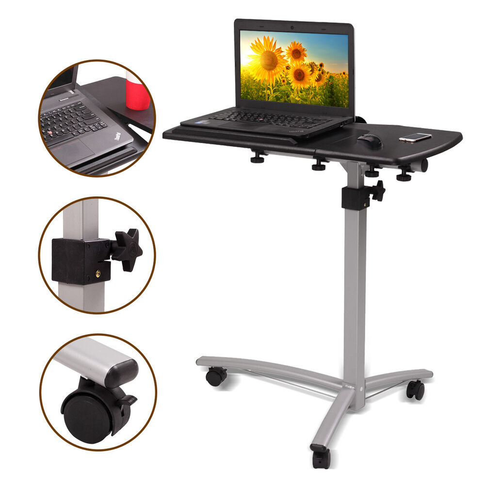 Adjustable Height Amp Angle Rolling Mobile Laptop Desk Cart