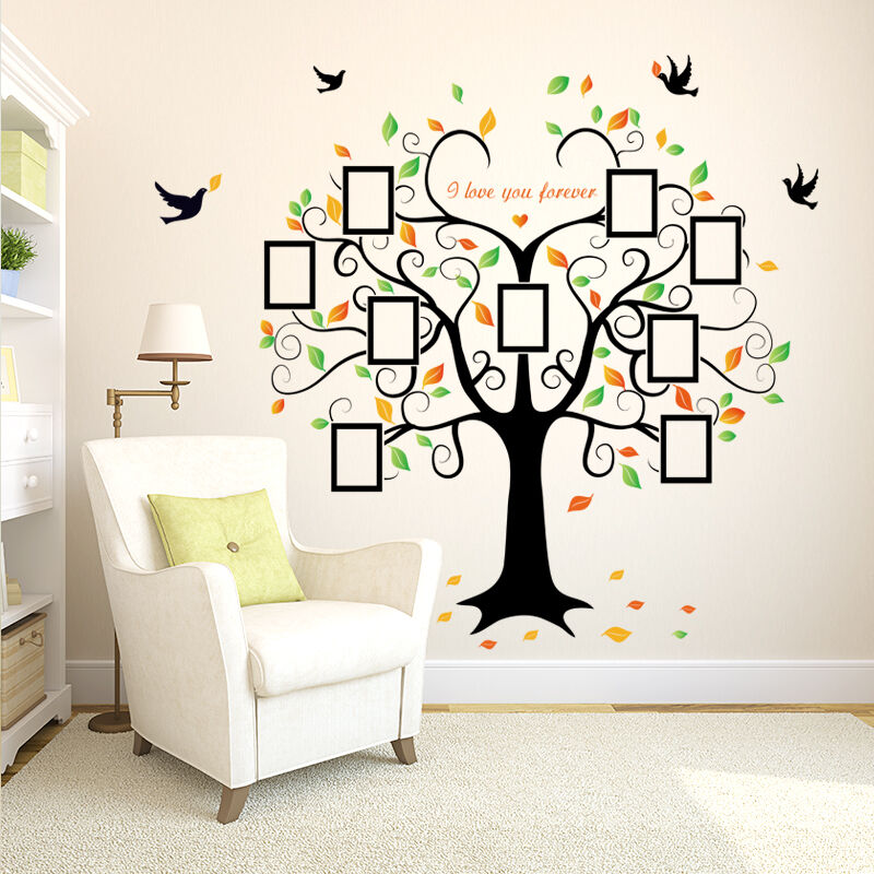 family photo tree birds wall art stickers vinyl frame decal mural home decor ebay. Black Bedroom Furniture Sets. Home Design Ideas