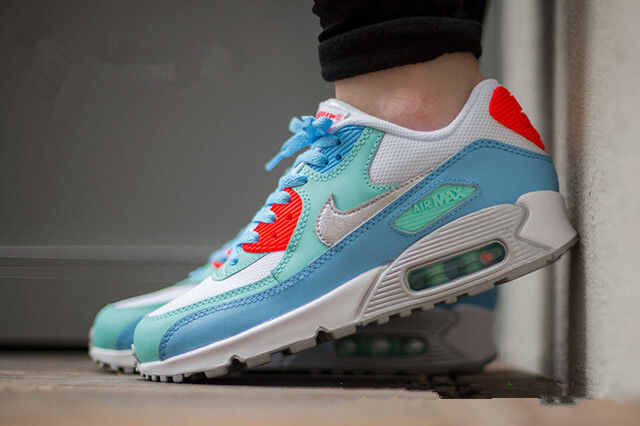 Youth Womens Nike Air Max 90 Sneakers New, Ice Blue Crimson 724852 100