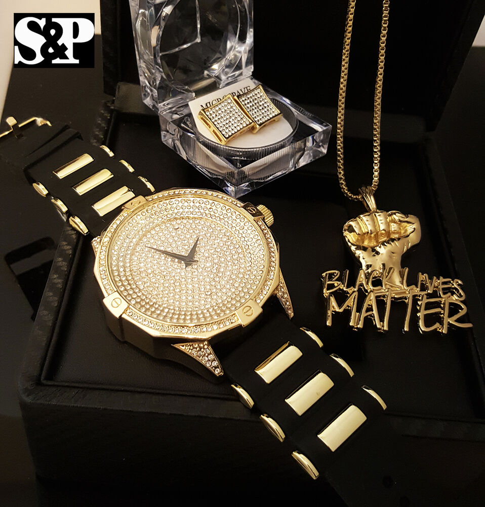 Men Iced Out Hip Hop Black Lives Matter Watch Amp Necklace