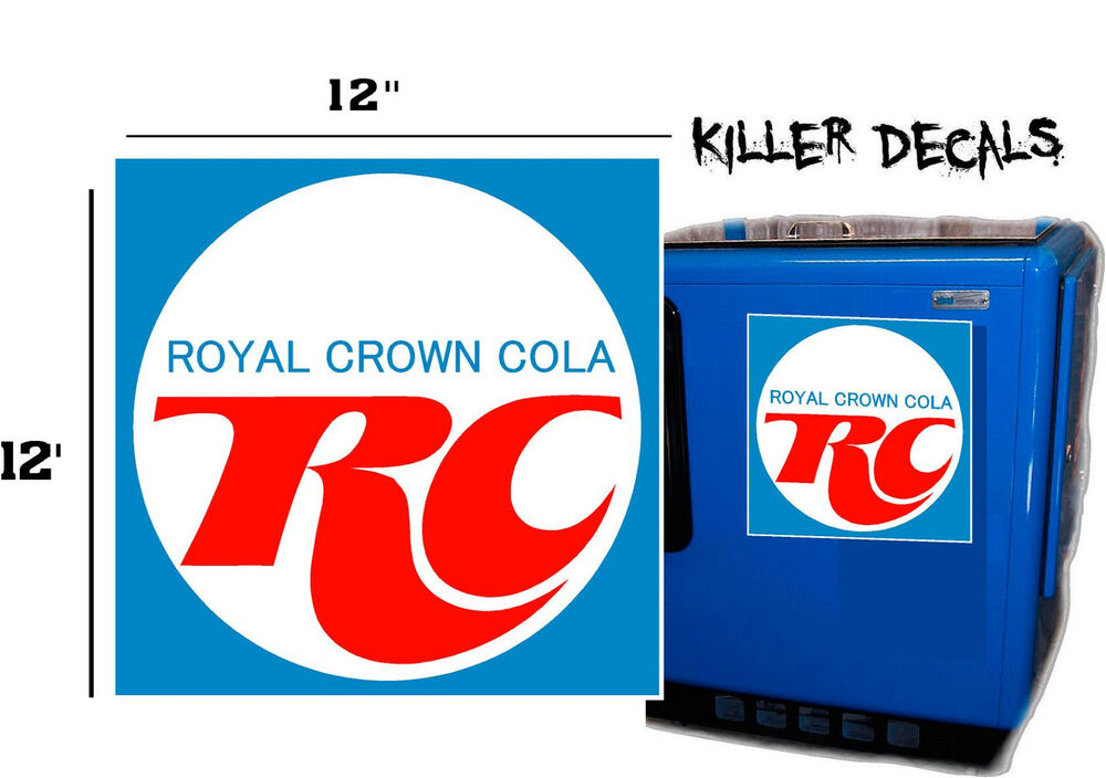 """12"""" BLUE RC ROYAL CROWN COLA DECAL COOLERS SODA POP"""