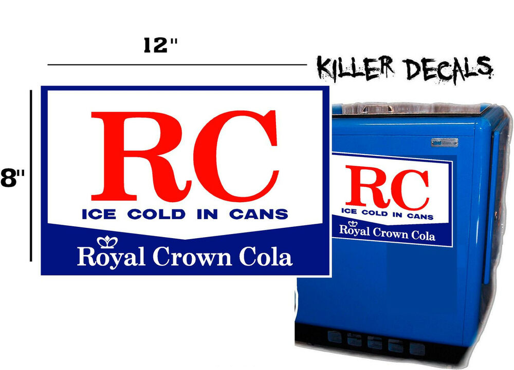 """12"""" WHITE STYLE B RC ROYAL CROWN COLA DECAL COOLERS SODA"""