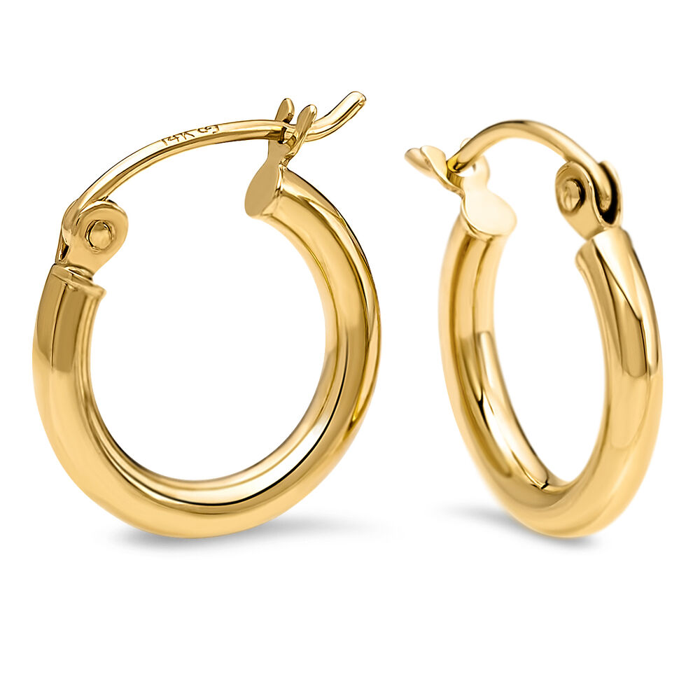 solid gold hoops earrings leslies 14k solid yellow gold polished small hoop earrings 1363