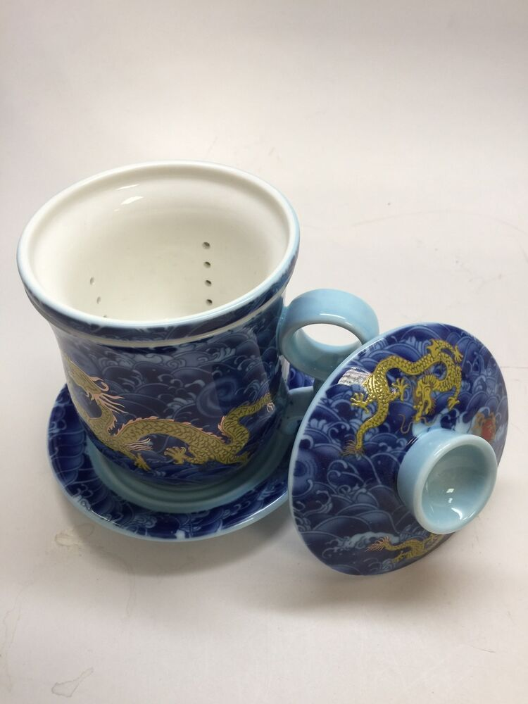 Chinese Office Blue Dragon Office Ceramic Tea Cup With A