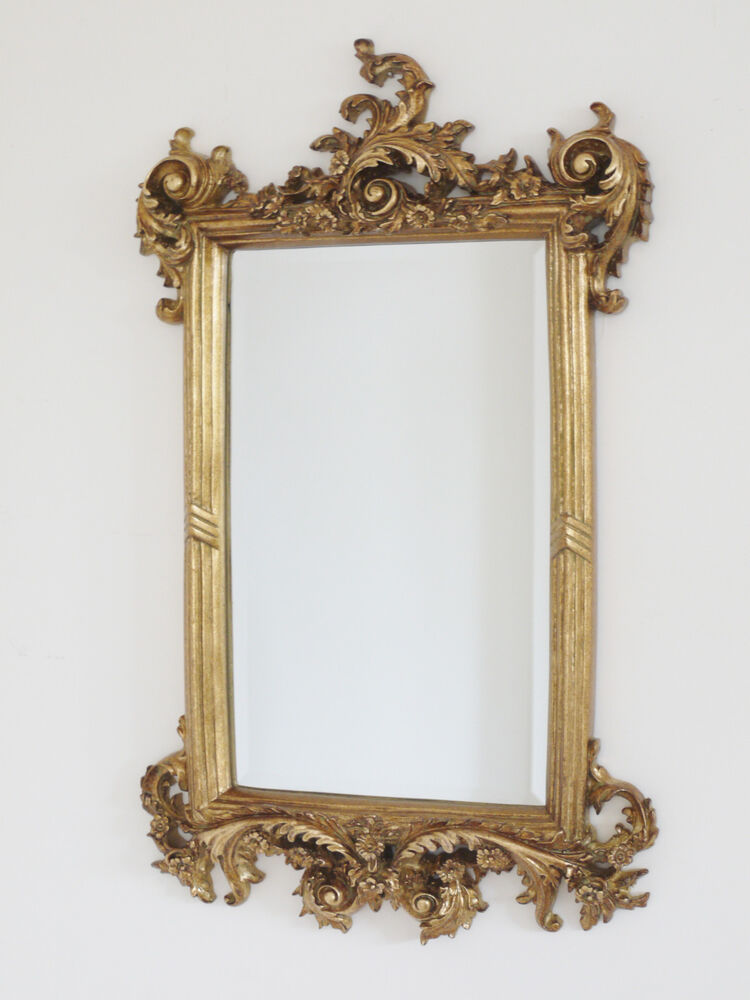 62cm french baroque rococo gold metal frame antique ornate for French mirror