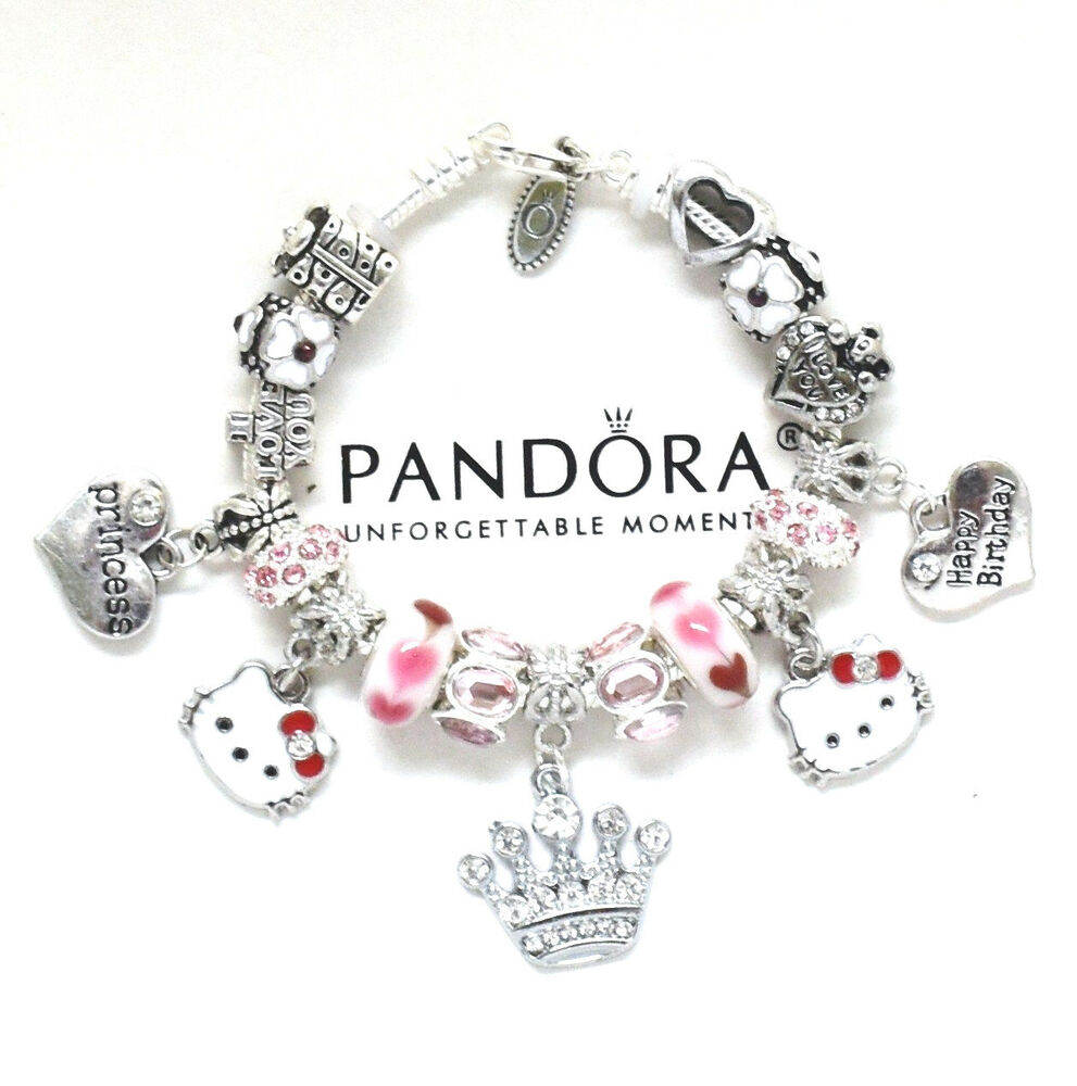 Charms For Bracelets Pandora: Pandora Bracelet Hello Kitty Kids 6.7 European Charms Pink