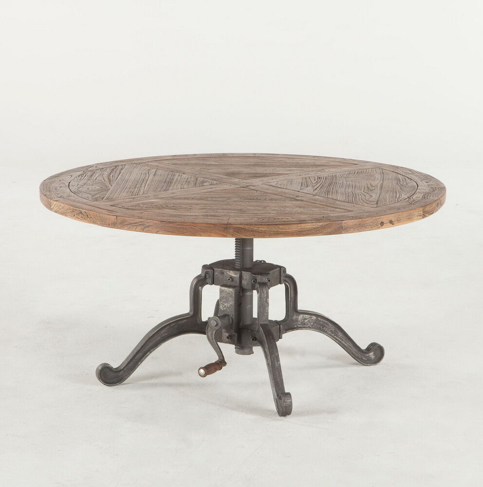 "Round Coffee Table Standard Size: 42"" Round Adjustable Height Industrial Coffee Table"