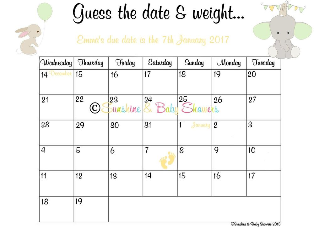 Personalised Guess The Baby S Due Date Amp Weight Baby