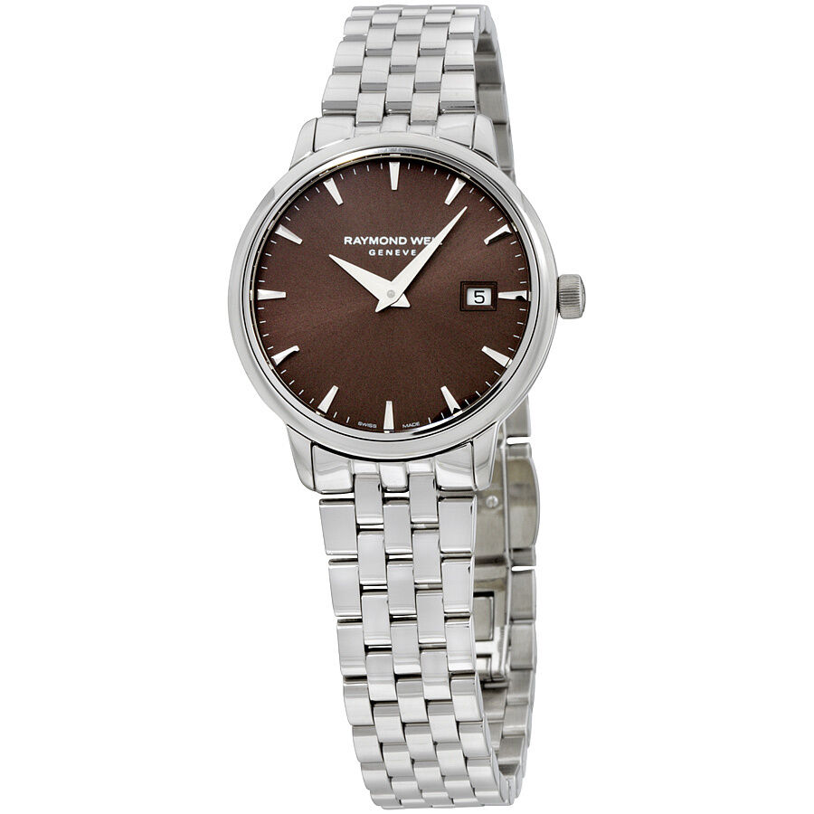 Raymond weil stainless steel brown dial ladies watch 5988 st 70001 ebay for Raymond watches