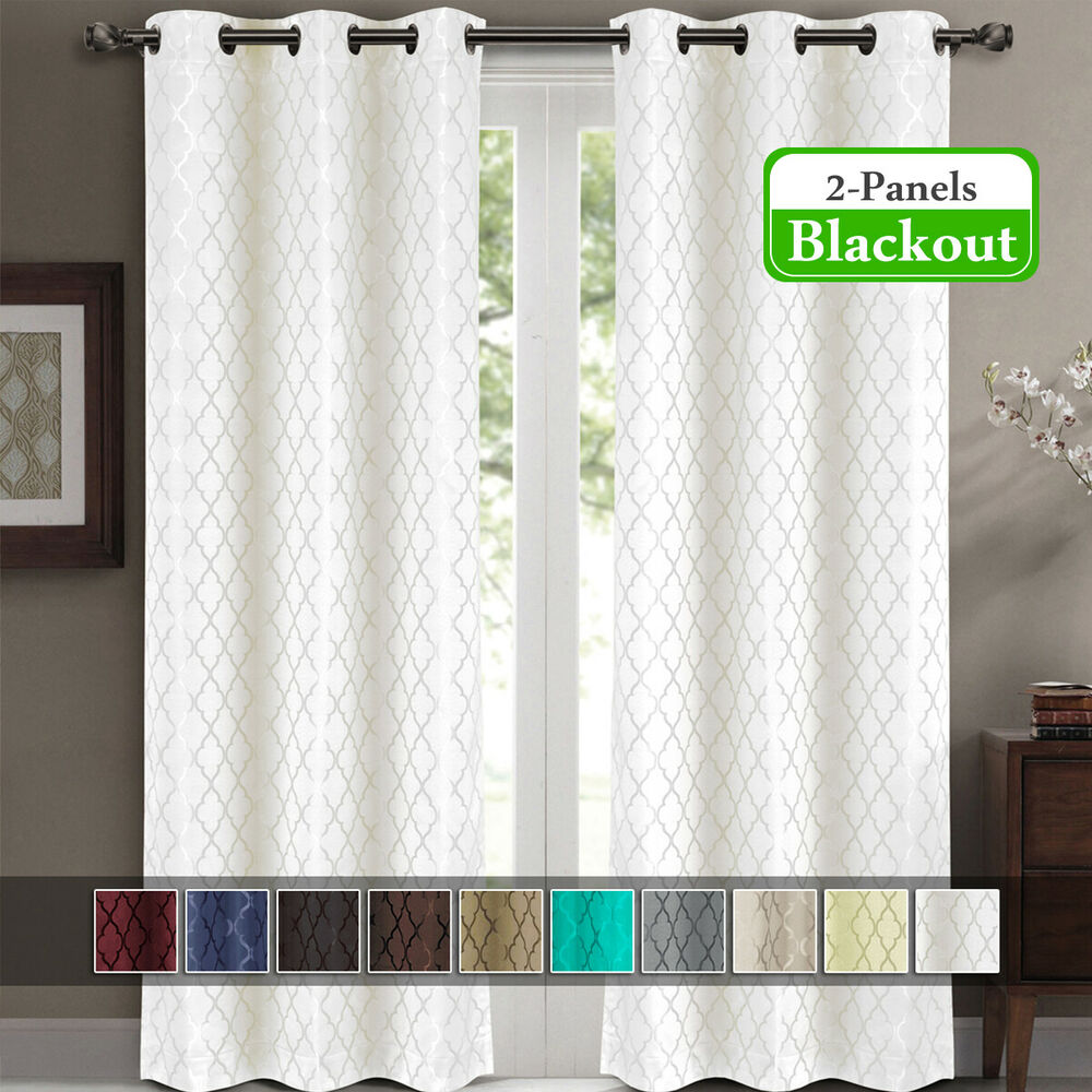 Willow Jacquard Thermal Insulated Blackout Curtains Set