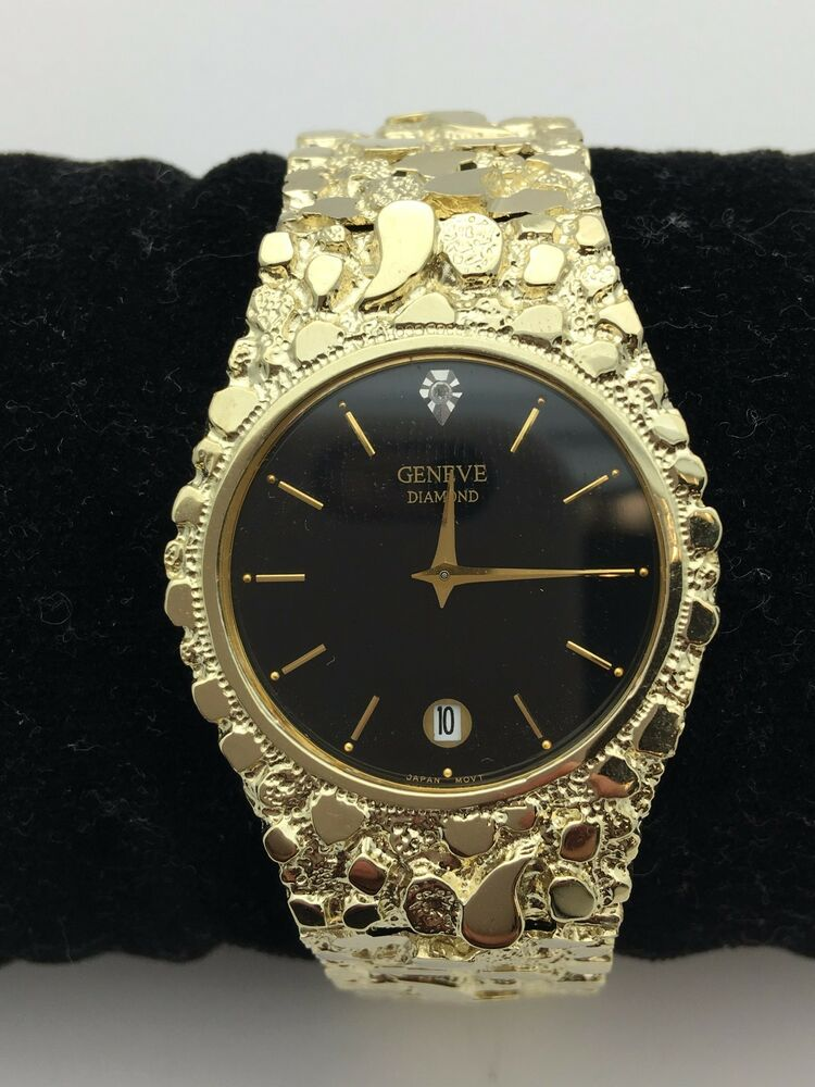 Geneve Diamond 10K Solid Yellow Gold Watch Nugget Style 8