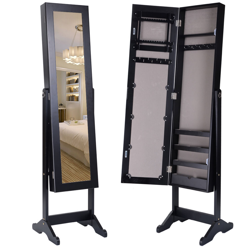 black mirrored jewelry cabinet mirror organizer armoire storage box ring w stand ebay. Black Bedroom Furniture Sets. Home Design Ideas