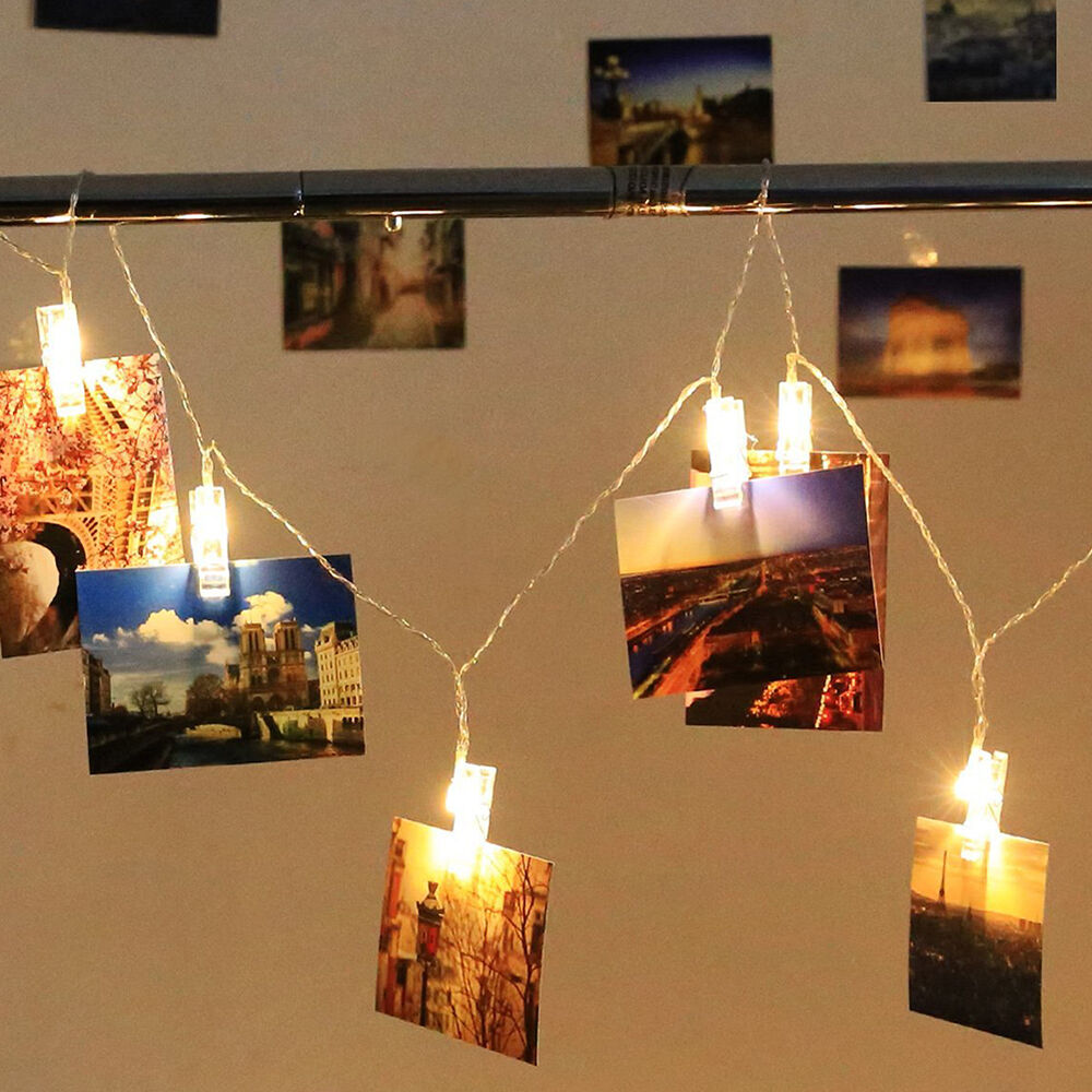 photo clip led battery box light string clip display wire. Black Bedroom Furniture Sets. Home Design Ideas