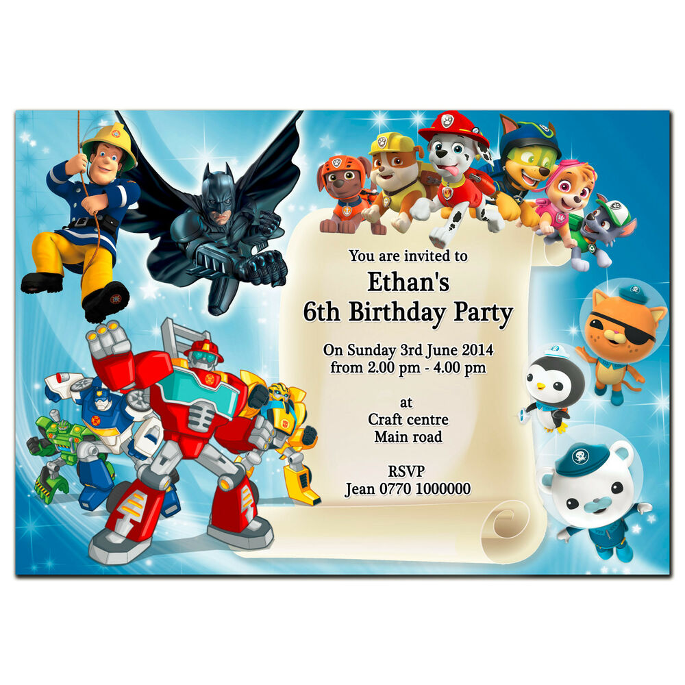 Details About I073 Personalised Invitations Paw Patrol Rescue Bots Batman 2nd 3rd 4th 5th 6