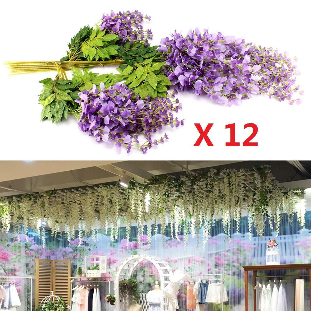 12x Artificial Silk Wisteria Wall Hanging Ivy Vine Garland