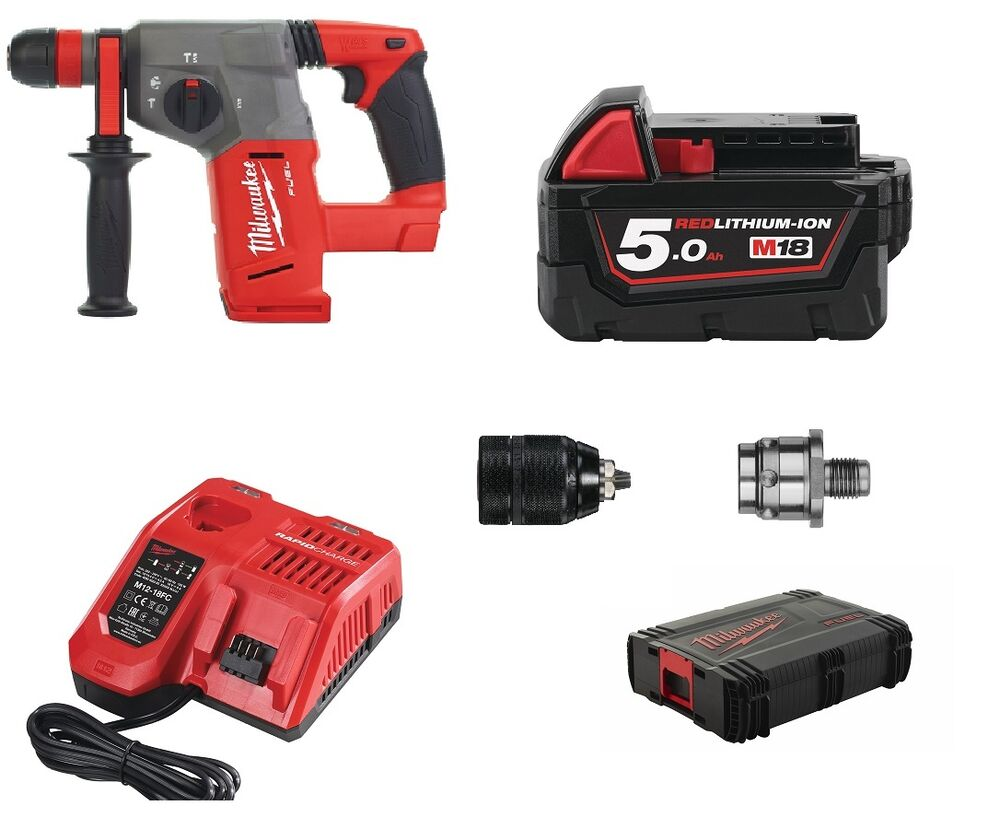 milwaukee m18 chx kombihammer 1x m18b5 li ion akku 5 0ah 18v in hd box ladeger t ebay. Black Bedroom Furniture Sets. Home Design Ideas