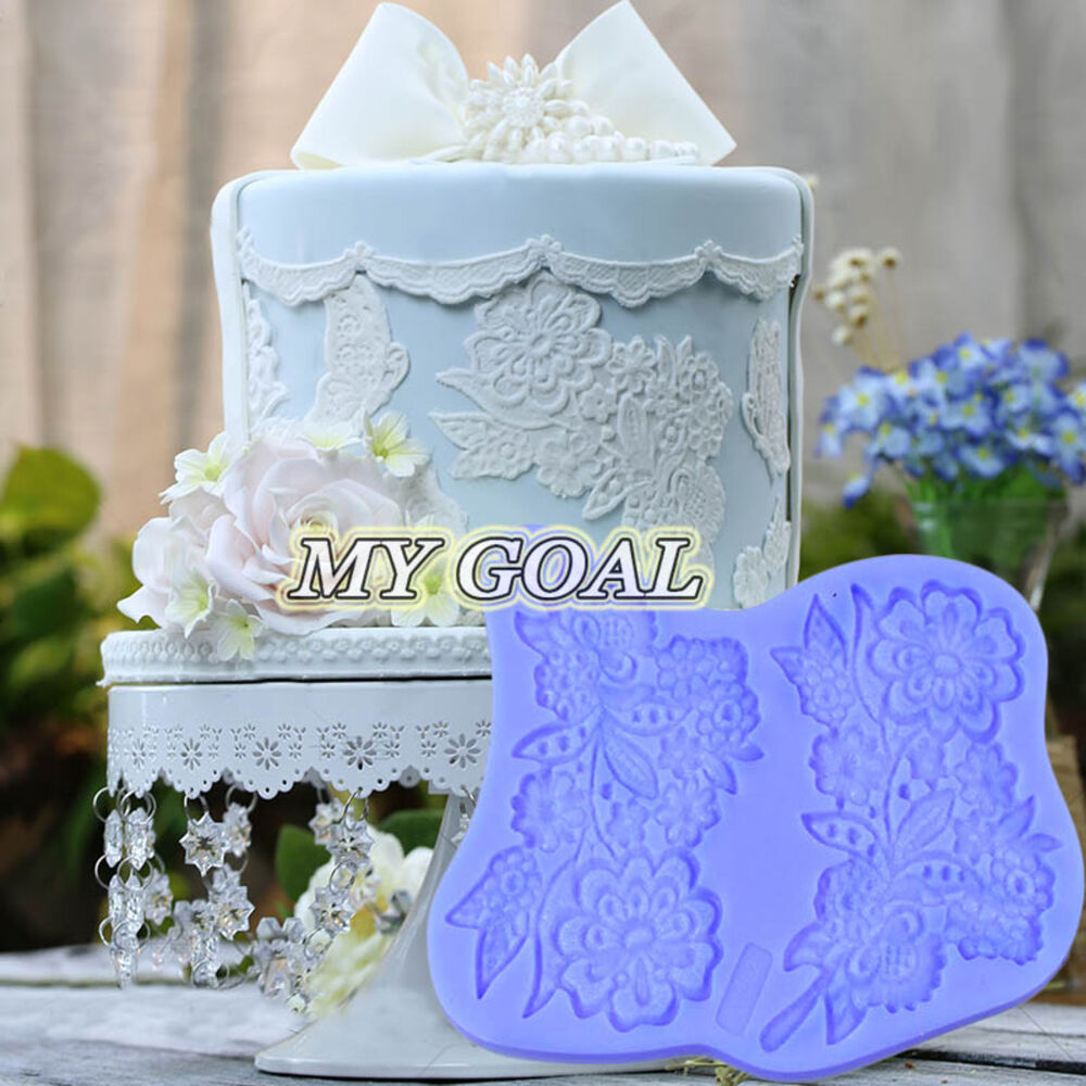 Flower lace bouquet silicone fondant mould cake decor for Advanced molding decoration
