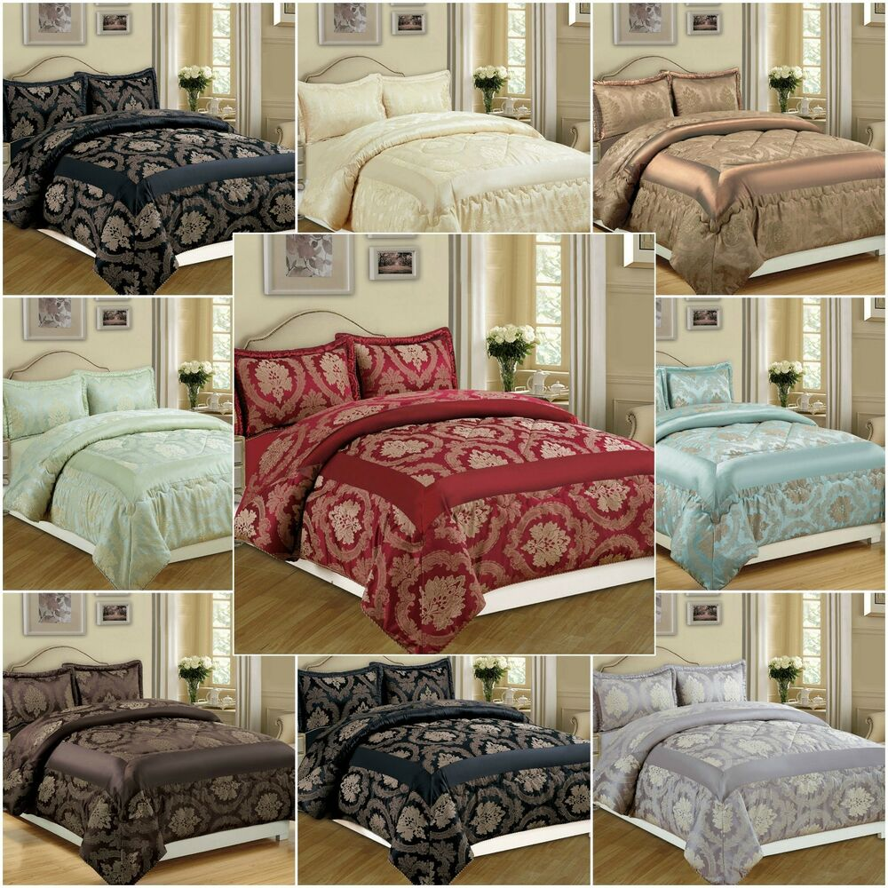 New 3 Piece Jacquard Quilted Bedspread Comforter Bed Set