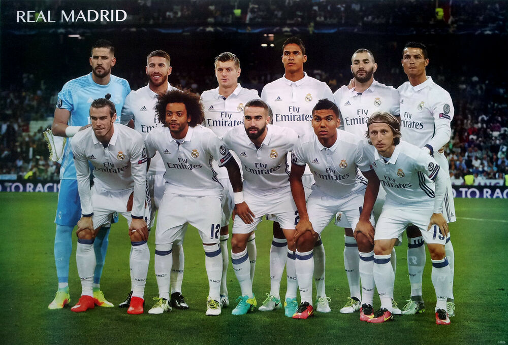 real madrid 11 players 2017 poster 23 x34 uefa league